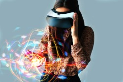 woman with virtual head set and futuristic graphics - image